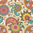 Seamless pattern with paisley and flowers - Stok Vektör