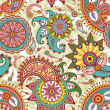 Seamless pattern with paisley and flowers - Векторная иллюстрация