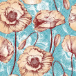 Vintage seamless pattern with poppy flowers — Stock Vector