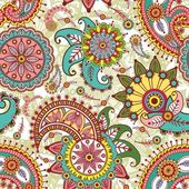 Seamless pattern with paisley and flowers — Stok Vektör