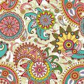 Naadloze patroon met paisley en bloemen — Stockvector