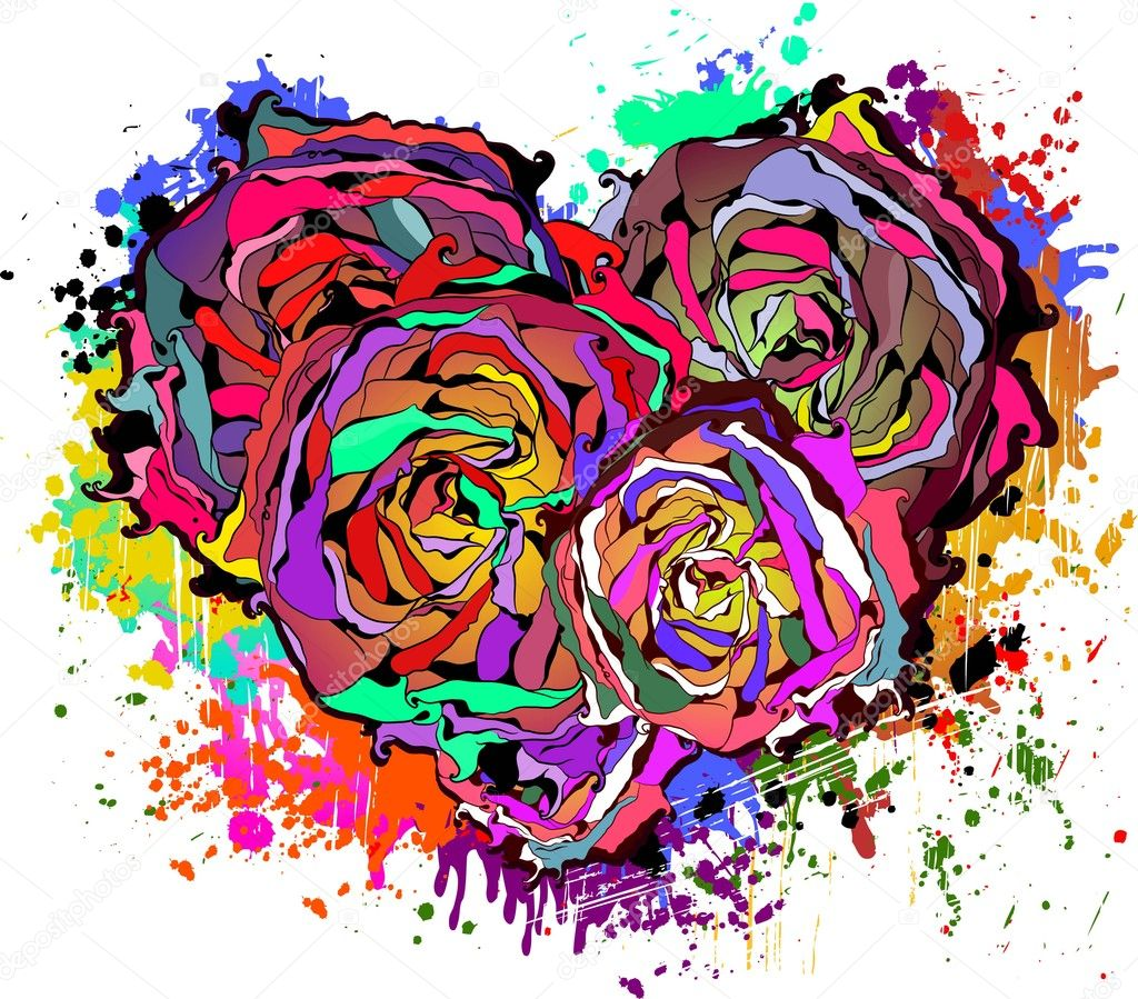 Abstract colorful heart of roses with grungy element — Stock Vector #8043384