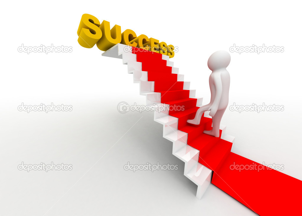 Success concept 3d man wlakin on ladder — Stock Photo #10274414