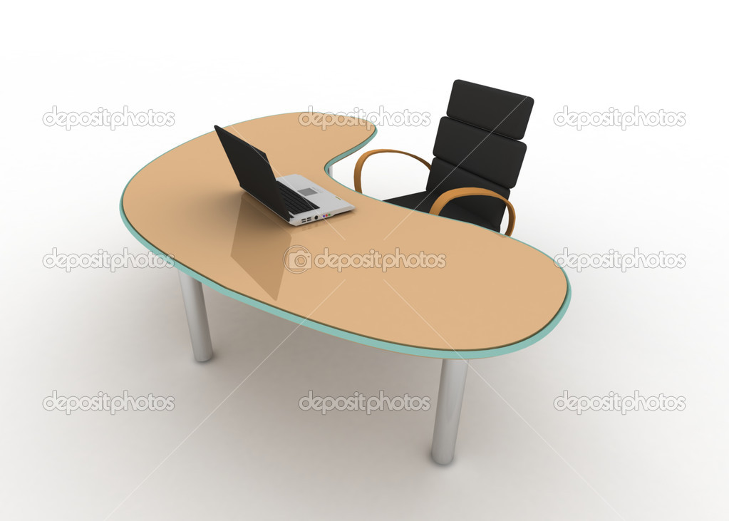 Laptop on table and chair — Stock Photo #10278994
