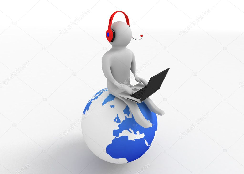 3d man with notebook sitting on the earth — Stock Photo #10353601