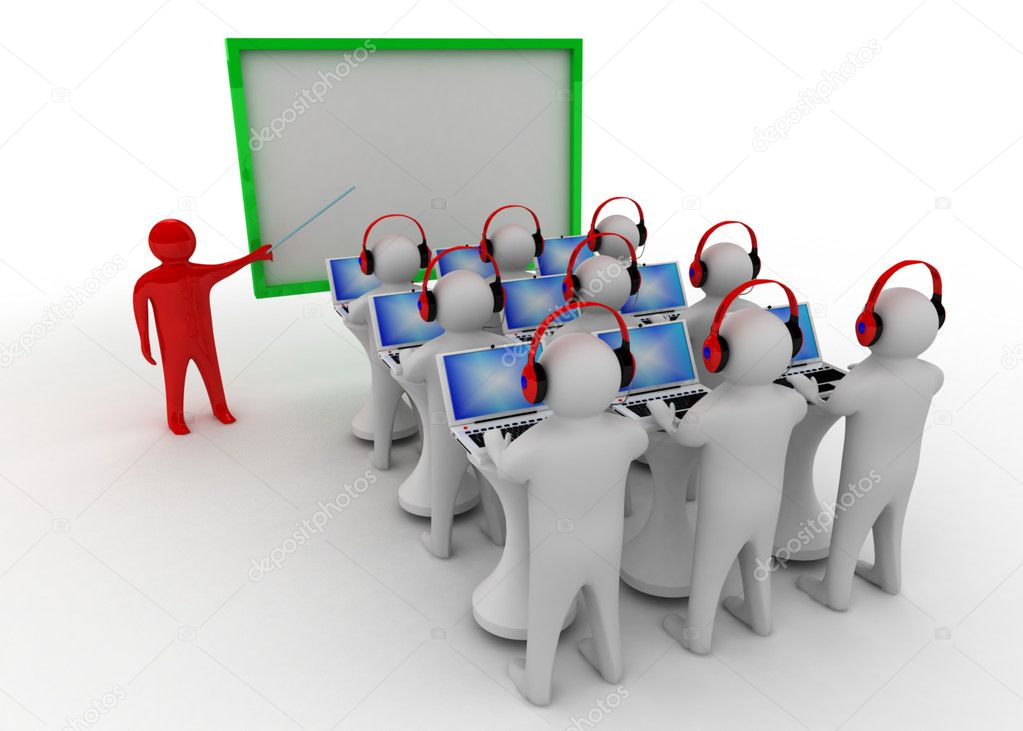 3d man in classroom — Stock Photo #10484250