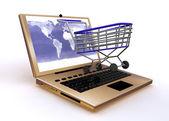 Notebook cart shop concept — Stock Photo