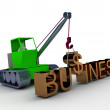3d man working with crane constructing business — Stock Photo