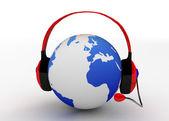 ヘッドフォンと地球 — ストック写真