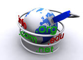Earth globe with network cable — Photo