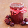 Stock Photo: Cherry homemade jam on wooden background