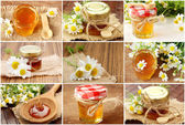 Collage with fresh honey — Stock Photo