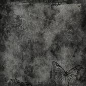 古い羊皮紙に蝶と花グランジ イラスト — ストック写真