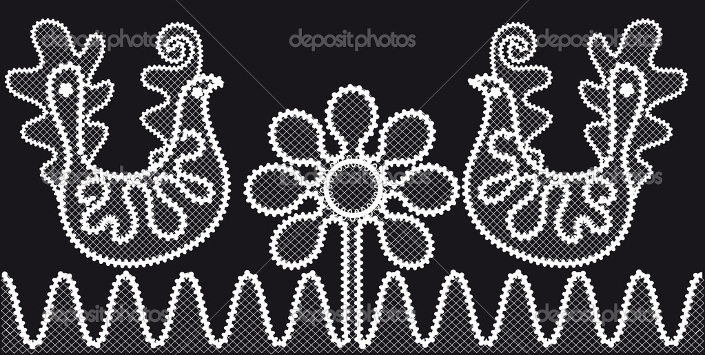 Lace pattern with birds and flowers — Stock Vector #10372313
