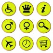 Green icons with golden frame — Stock Photo