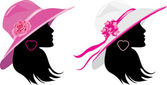 Two women in a elegant hats — Stock Vector