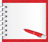 Spiral notepad and red ballpen — Vettoriale Stock