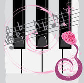 Las teclas del piano, notas y guitarra abstracta con rose — Vector de stock