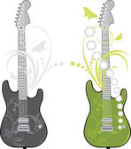 Two rock guitars isolated on the white — Stok Vektör