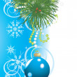 Christmas tree with blue ball and snowflakes. Festive card — Stock Vector #8033077