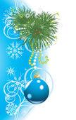 青いボールと雪のクリスマス ツリー。お祝いカード — ストックベクタ