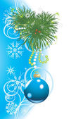 Christmas tree with blue ball and snowflakes. Festive card — Vector de stock