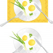 Fried eggs with green onion and parsley - Stock Vector