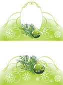 Christmas tree with green ball on the abstract background — Vector de stock