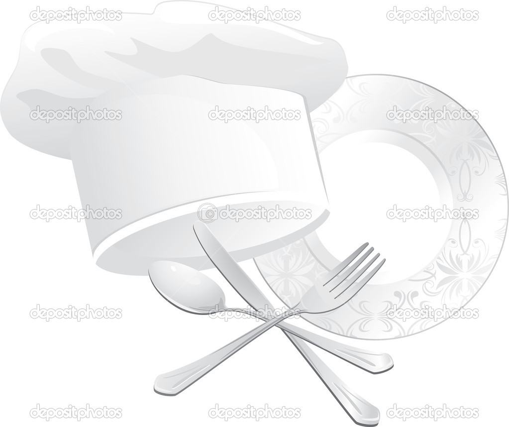 Chef hat, plate with spoon, fork and knife. Vector illustration — Stock Vector #8081133