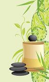 Spa yağı ve üzerinde dekoratif çiçek süsleme taşları — Stok Vektör
