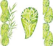 Set of green decorative floral elements — Stock Vector