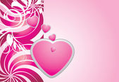 Pink hearts on the decorative background — Stock Vector