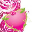 Pink heart with flowers on the decorative background. Valentines card — Stock Vector