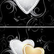 Golden and silver hearts with diamonds on the decorative background — Stock Vector