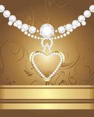 Cuore d'oro con diamanti e strass sullo sfondo decorativo — Vettoriale Stock