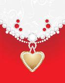 Cuore con diamanti e strass. sfondo decorativo di design di gioielli — Vettoriale Stock