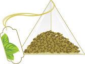 Paketet med grönt te — Stockvektor