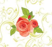 Ramo de rosas en el fondo decorativo — Vector de stock