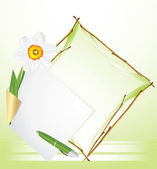 Frame with daffodil. Festive background — Stock Vector