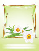 Frame with daffodils on the abstract background — Stock Vector
