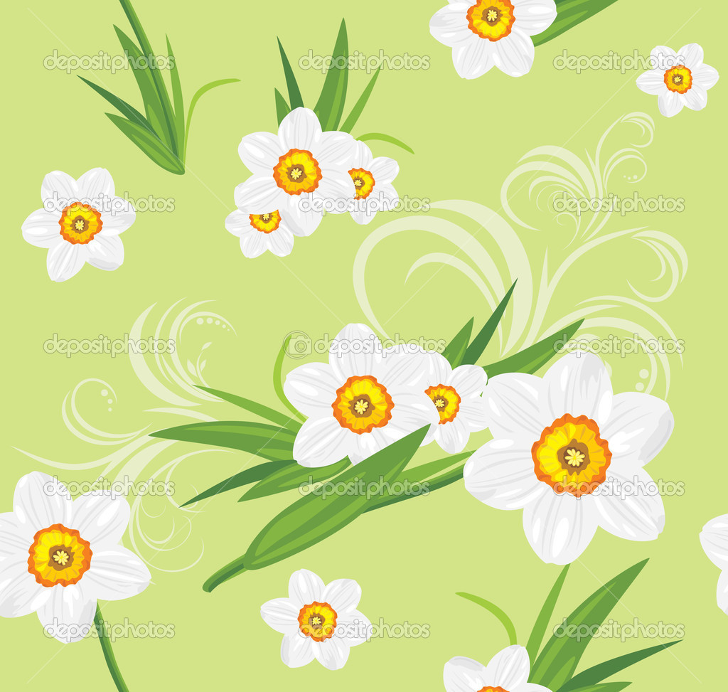 Decorative daffodil background. Vector illustration — Stock Vector #9675334