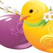 Easter eggs and chick — Stock Vector #9769903