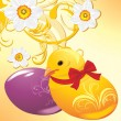 Royalty-Free Stock Vector Image: Easter eggs and chick the ornamental background with daffodils