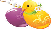 Easter eggs and chick — Stock Vector