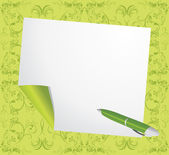 Curled page and ballpen on the decorative green background — Stock Vector