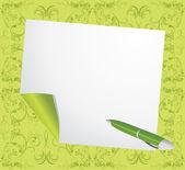 Zwinięte strony i długopis na zielonym tle ozdobny — Wektor stockowy