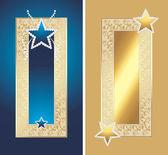 две золотые рамы с блестящими звездами — Cтоковый вектор