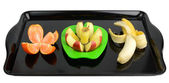Podzielone owoce na tacy — Zdjęcie stockowe