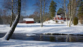 Winter landscape with Swedish cottage — Stok fotoğraf
