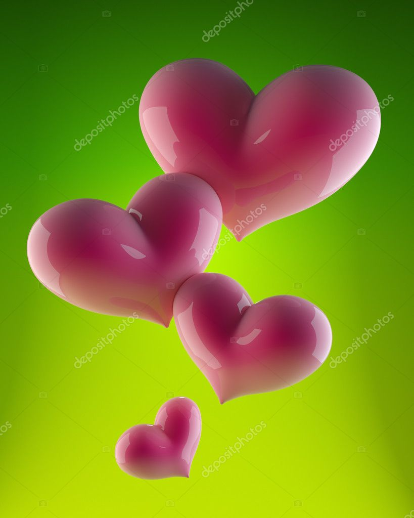 Valentine`s day. Four pink hearts on green background — Stock Photo #8390486